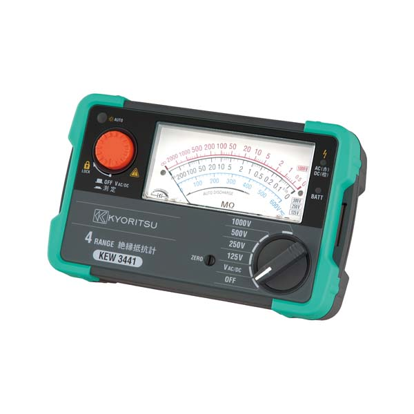 共立電気計器:アナログ絶縁抵抗計(4レンジ) KEW3441