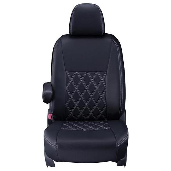 Clazzio(クラッツィオ):シートカバー(ダイヤ)(ブラック×ホワイトステッチ) トヨタ ヴィッツ 2WD 1.0L 130系 ET-1054