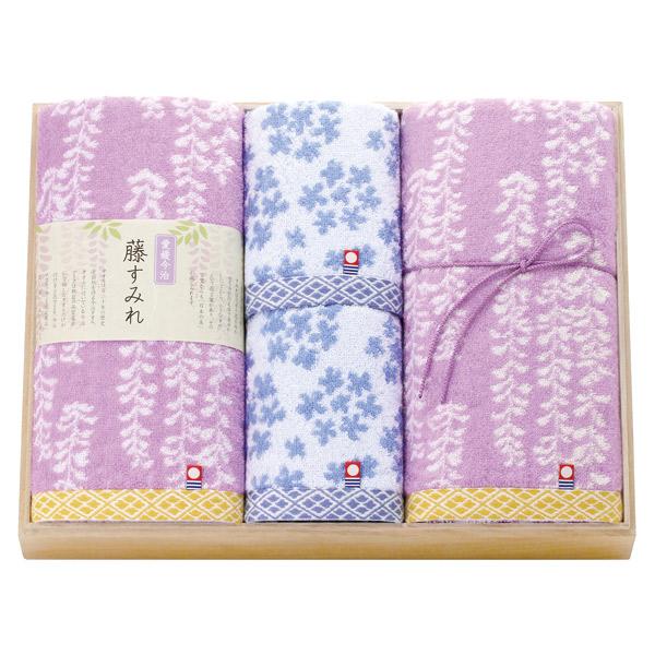 トクダ:今治 藤すみれ 日本製 愛媛今治 木箱入りタオルセット 62380