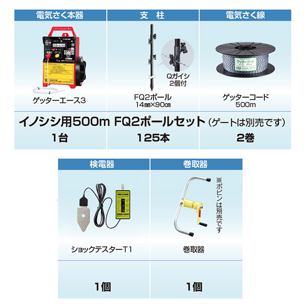 末松電子製作所:イノシシ用500m FQ2ポールセット
