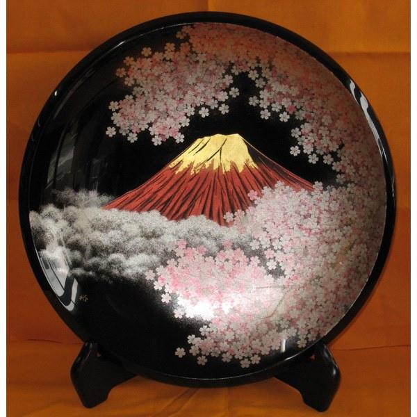 【代引不可】大藤漆器:飾皿(尺) 桜に富士沈金 (友田作)