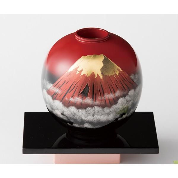 大藤漆器:花器 球型 曙ぼかし 赤富士沈金 (友田作)