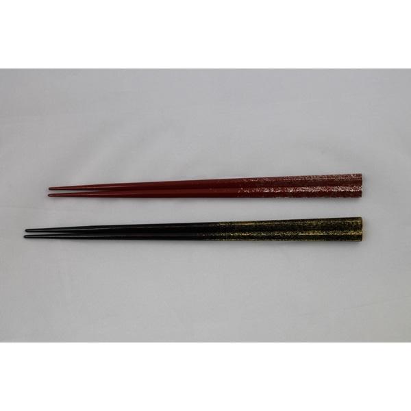 大藤漆器:夫婦箸 五角黒・朱梨地 OF-10-07