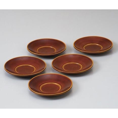 飛騨高山 中山漆器:春慶塗 手塗漆 茶托揃 4.0寸 5枚組 602F01
