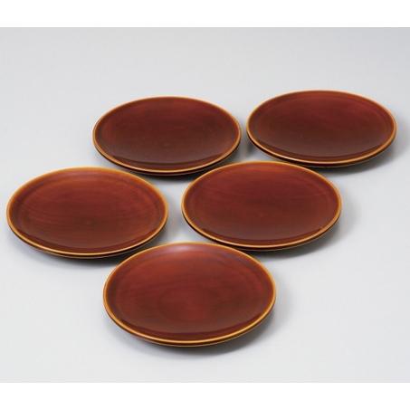 飛騨高山 中山漆器:春慶塗 手塗漆 銘々皿揃 4.5寸 5枚組 602F02