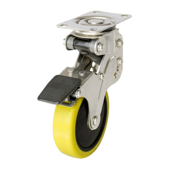 ユーエイ:緩衝器付キャスターポルテ NPG型 自在キャスター ストッパー付 帯電防止性ウレタン(ナイロンホイル,B入)車 車輪径 φ125 NPG-125SUES-3