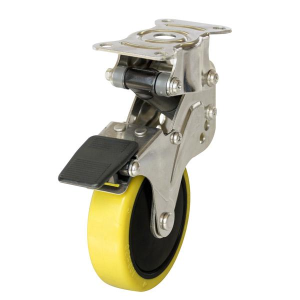 ユーエイ:緩衝器付キャスターポルテ NPR型 固定キャスター ストッパー付 帯電防止性ウレタン(ナイロンホイル,B入)車 車輪径 φ125 NPR-125SUES-2