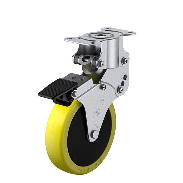 ユーエイ:SKYキャスター SKY-R型 固定キャスター ストッパー付 帯電防止性ウレタン(ナイロンホイル,B入)車 車輪径 φ125 SKY-R125SUES-3