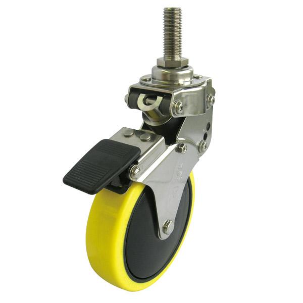 ユーエイ:SKYキャスターSKY-T型 自在キャスターストッパ付 帯電防止性ウレタン(ナイロンホイル,B入)車 車輪径φ100 ネジ寸M12×35 P1.75 SKY-T100SUES-3,M12×35