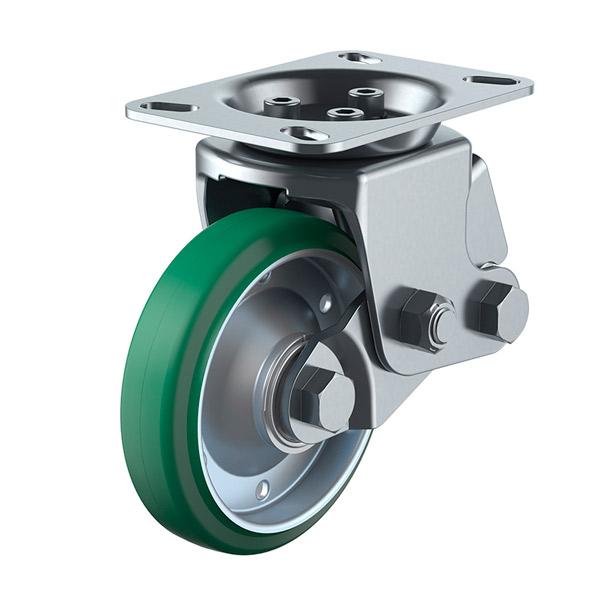 ユーエイ:SKYキャスター SKY-2R型 固定キャスター 緑ゴム(鋼板ホイル,B入)車 車輪径 φ200 SKY-2R200WF(Gr)-A-2