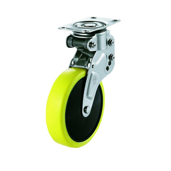 ユーエイキャスター:緩衝器付キャスターポルテ NPG型 自在キャスター 帯電防止性ウレタン(ナイロンホイル,B入)車 車輪径 Φ125 NPG-125SUE-1