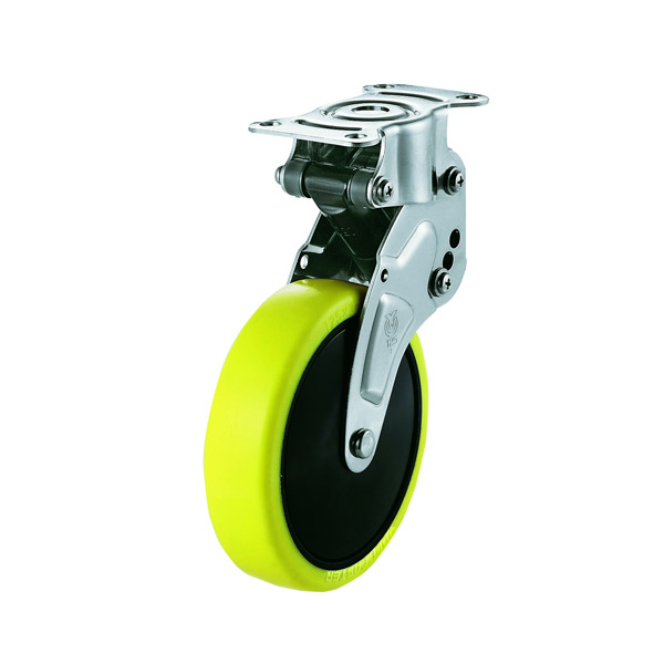 ユーエイキャスター:緩衝器付キャスターポルテ NPR型 固定キャスター 帯電防止性ウレタン(ナイロンホイル,B入)車 車輪径 Φ125 NPR-125SUE-1