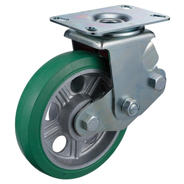 ユーエイキャスター:SKYキャスター SKY-2S型 自在キャスター 緑ゴム(鋼板ホイル,B入)車 車輪径 Φ200 SKY-2S200WF(Gr)-A-2