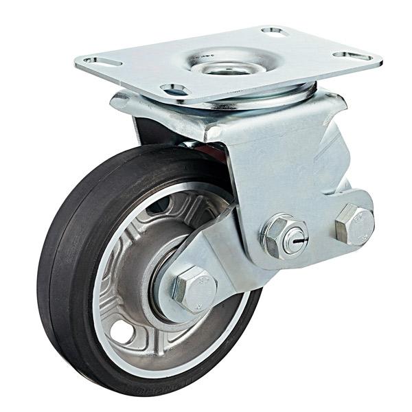 ユーエイキャスター:SKYキャスター SKY-2S型 自在キャスター ゴム(アルミホイル,B入)車 車輪径 Φ200 SKY-2S200AW-B-1