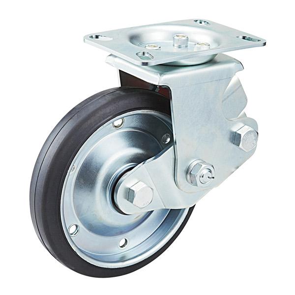 ユーエイキャスター:SKYキャスター SKY-2R型 固定キャスター 耐摩耗ゴム(鋼板ホイル,B入)車 車輪径 Φ150 SKY-2R150WF(AR)-A-1