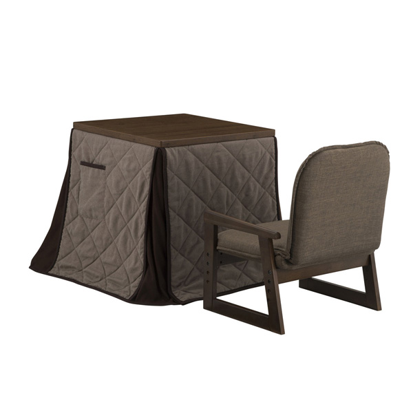 YUASA(ユアサ):ミドルこたつ・布団・椅子3点セット(ミドルブラウン) 新なごみ55MB NGM-N55DLH(MB)