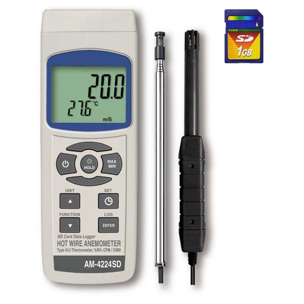 マザーツール:SDデータロガデジタル熱線式風速・風量計 AM-4224SD