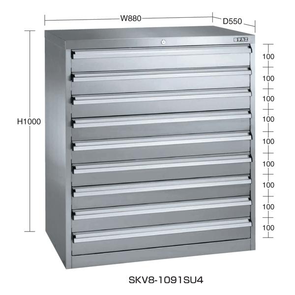 【後払い不可】【代引不可】【受注生産品】SAKAE(サカエ):ステンレス重量キャビネット SKV8タイプ SKV8-1091SU4