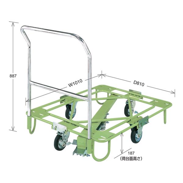 【代引不可】SAKAE(サカエ):自在移動回転台車 軽量型 取手・センターベース付 RA-2FG