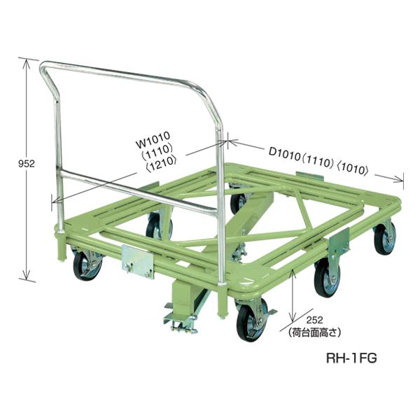 春新作の RH-1FG:イチネンネット SAKAE(サカエ):自在移動回転台車 取手・センターベース付 超重量型-DIY・工具