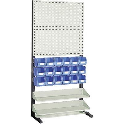 TRUSCO UPR型パンチングラック 棚板・コンテナ付 両面(1台) UPR408N 3657612