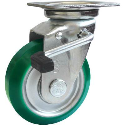シシク スタンダードプレスキャスター ウレタン車輪 自在ストッパー付 250径(1個) UWJB250 1373102