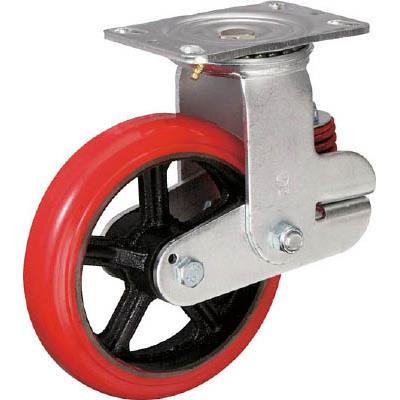イノアック バネ付き牽引車輪(ウレタン車輪タイプ 自在金具付 Φ200)(1個) KTU200WJRS 4835158