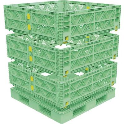 TRUSCO マルチステージコンテナ メッシュ 3段 1100X1100 緑(1S) TMSCM1111GN 7698135