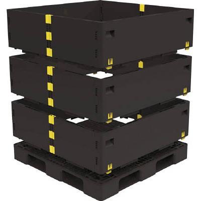 TRUSCO マルチステージコンテナ 3段 1100X1100 黒(1枚) TMSCS1111BK 7698186