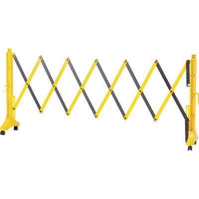 緑十字 伸縮式バリケード 黄/黒 高さ1m×幅0.5~3.5m 連結可能タイプ 116131 8188133