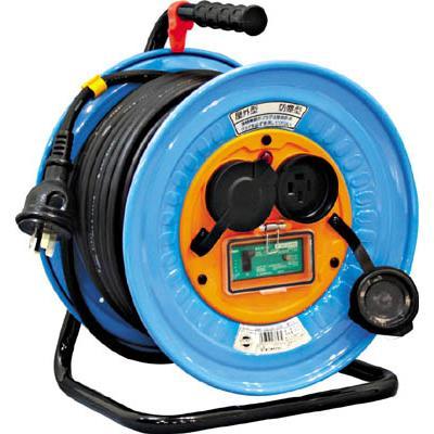 日動 電工ドラム 防雨防塵型三相200V アース漏電しゃ断器付 30m(1台) DNWEB33020A 3272559