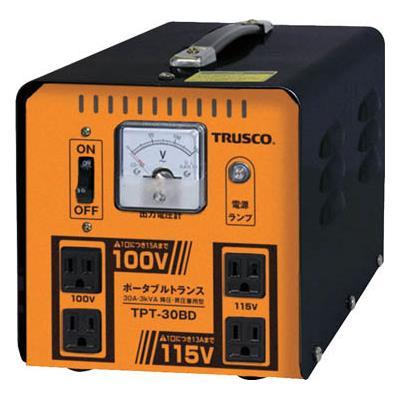 TRUSCO ポータブルトランス 30A 3kVA 降圧・昇圧兼用型(1台) TPT30BD 7644639
