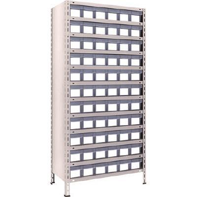【代引不可】TRUSCO 軽量棚 875X450XH1800 樹脂引出透明 小X66(1台) 63X812C11 5033969