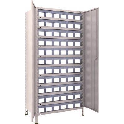 【代引不可】TRUSCO 軽量棚扉付 875X533XH1800 樹脂引出透明 小X66(1台) 63XT812C11 5043654