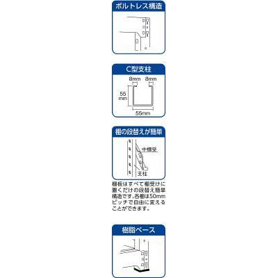 (1台) 4段 M54654B 5091837 M5型中量棚 連結 1800X471XH1200 TRUSCO NG