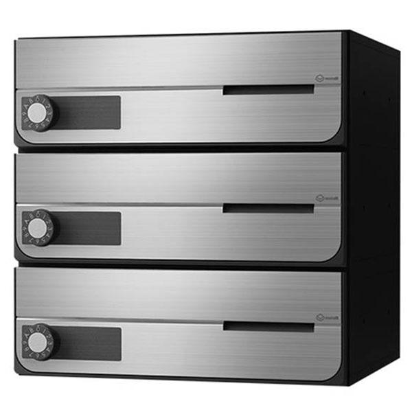 ナスタ:D-ALL 大型郵便物対応集合郵便受箱(屋内仕様)3戸用 前入前出 KS-MB4002PY-3L-S シンプル クール 静音 イタズラ防止