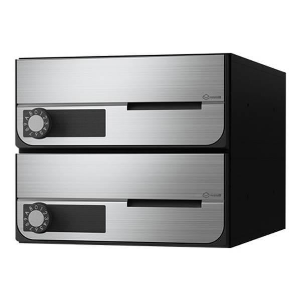 ナスタ:D-ALL 大型郵便物対応集合郵便受箱(屋内仕様)2戸用 前入前出 KS-MB6002PY-2L-S