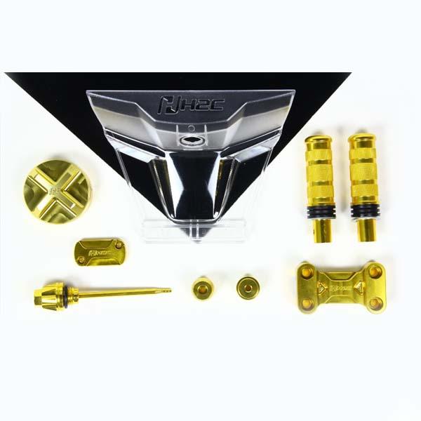 【代引不可】H2C(エイチツーシー):セット品 ビレット系パーツ7点セット ゴールド ZOOMER-X (13-15年モデル対応) H2C-ZOO-SETGLD