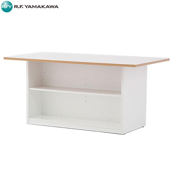 【代引不可】アール・エフ・ヤマカワ:収納付きテーブル ホワイト RFSGD-1690