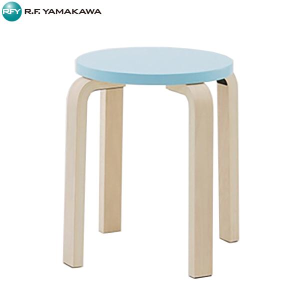 【代引不可】アール・エフ・ヤマカワ:[SET]木製丸椅子 ブルー 4脚SET Z-SHSC-1B-4SET