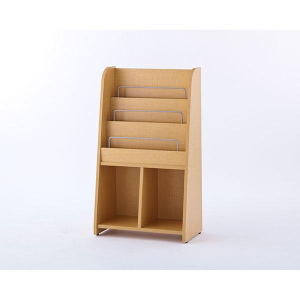【代引不可】アール・エフ・ヤマカワ:木製マガジンラック2 ハイ ナチュラル RFMR2-NH