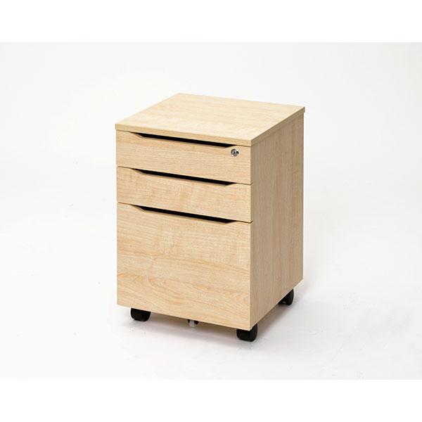 【代引不可】アール・エフ・ヤマカワ:RF木製デスク 3段キャビネット ナチュラル RFWD-CA-3NA