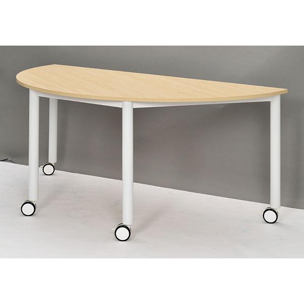 【代引不可】アール・エフ・ヤマカワ:キャスターテーブル ホワイト脚 半円 ナチュラル RFCTT-WL1680SMNA