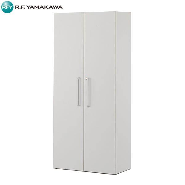 【法人限定】アール・エフ・ヤマカワ: プリーマII 木製格子型シェルフ2列5段 ホワイト全面扉付き グレーバック SHWKS2-25HDWH