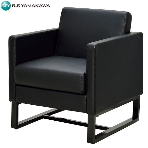 【代引不可】アール・エフ・ヤマカワ:スクエアソファ レザー 1人掛け ブラック GZSSF-L1PBK