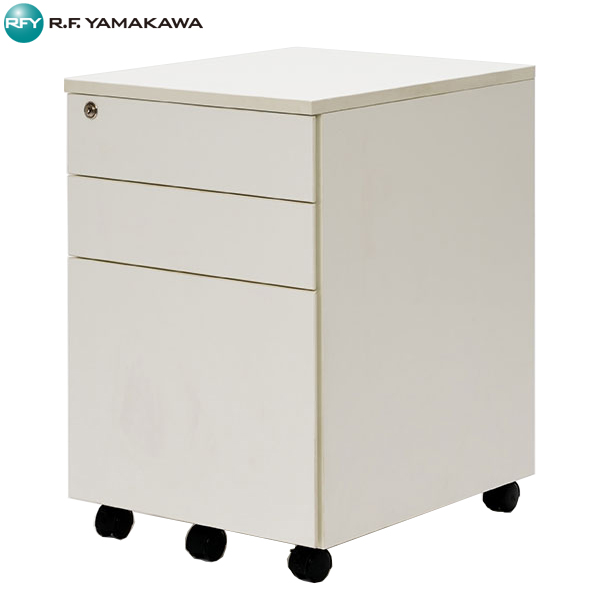 【法人限定】アール・エフ・ヤマカワ:ワーキングデスク3段ワゴン ホワイト GZWCA-3WH