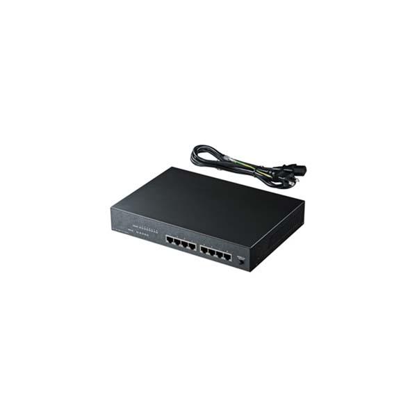 【代引不可】サンワサプライ:PoE対応スイッチングHUB(4ポート通常ポート+4ポートPoE対応) LAN-SWHPOE44