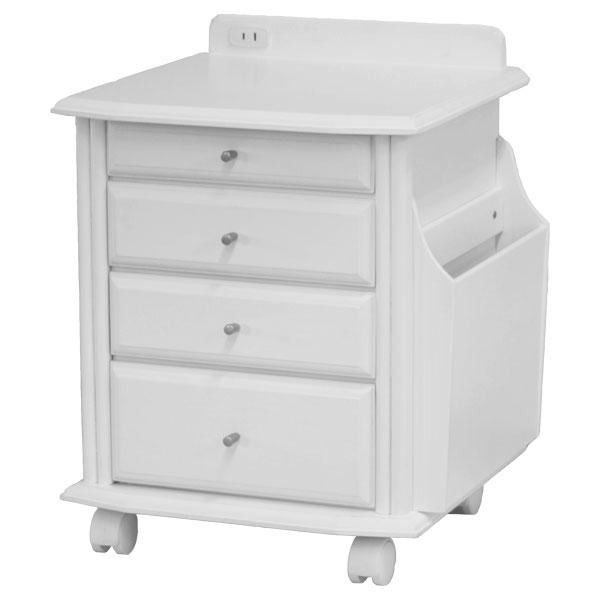 あす楽 サン・ハーベスト:天然木ベッドサイドテーブル ホワイト KP-920 WH 小物収納 キャスター付き コンセント付 マガジンラック 寝室 リビング