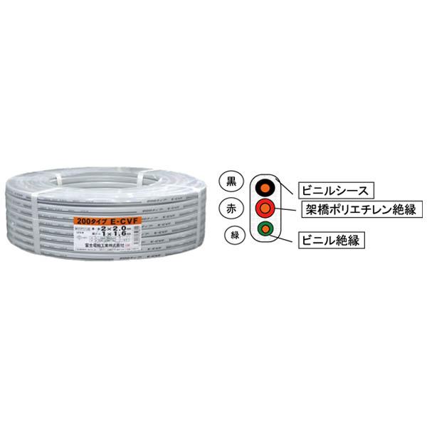 富士電線:低圧電力ケーブル 600V架橋ポリエチレン絶縁ビニルシースケーブル平形 E-CVF 2.0MM×2C+1.6 (100m)