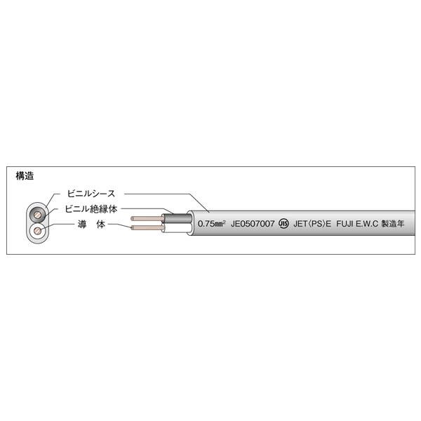 富士電線:キャブタイヤケーブル ビニルキャブタイヤ長円形コード VCTFK VCT-FK 2SQ×2C 白 (100m)